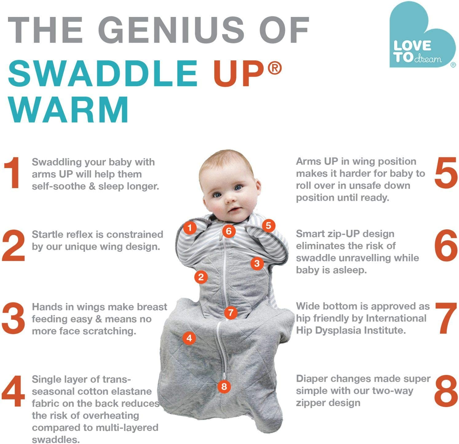 Love To Dream Swaddle UP Warm 2.5 TOG Small 7-13 lbs Grey