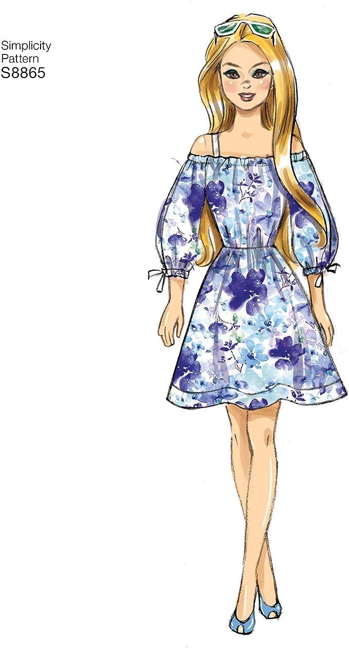 11 1//2, talla /única Simplicity US8865OS S8865 Patrones de costura para ropa de mu/ñecas
