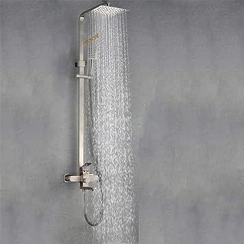 Badezimmer Thermostat Dusche Set Moderne Edelstahl Wand Quadrat