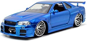Jada Toys Fast & Furious 1:24 Brian's 2002 Nissan Skyline GT-R R34 a Die-cast Car, Toys for Kids and Adults, Blue (97173)