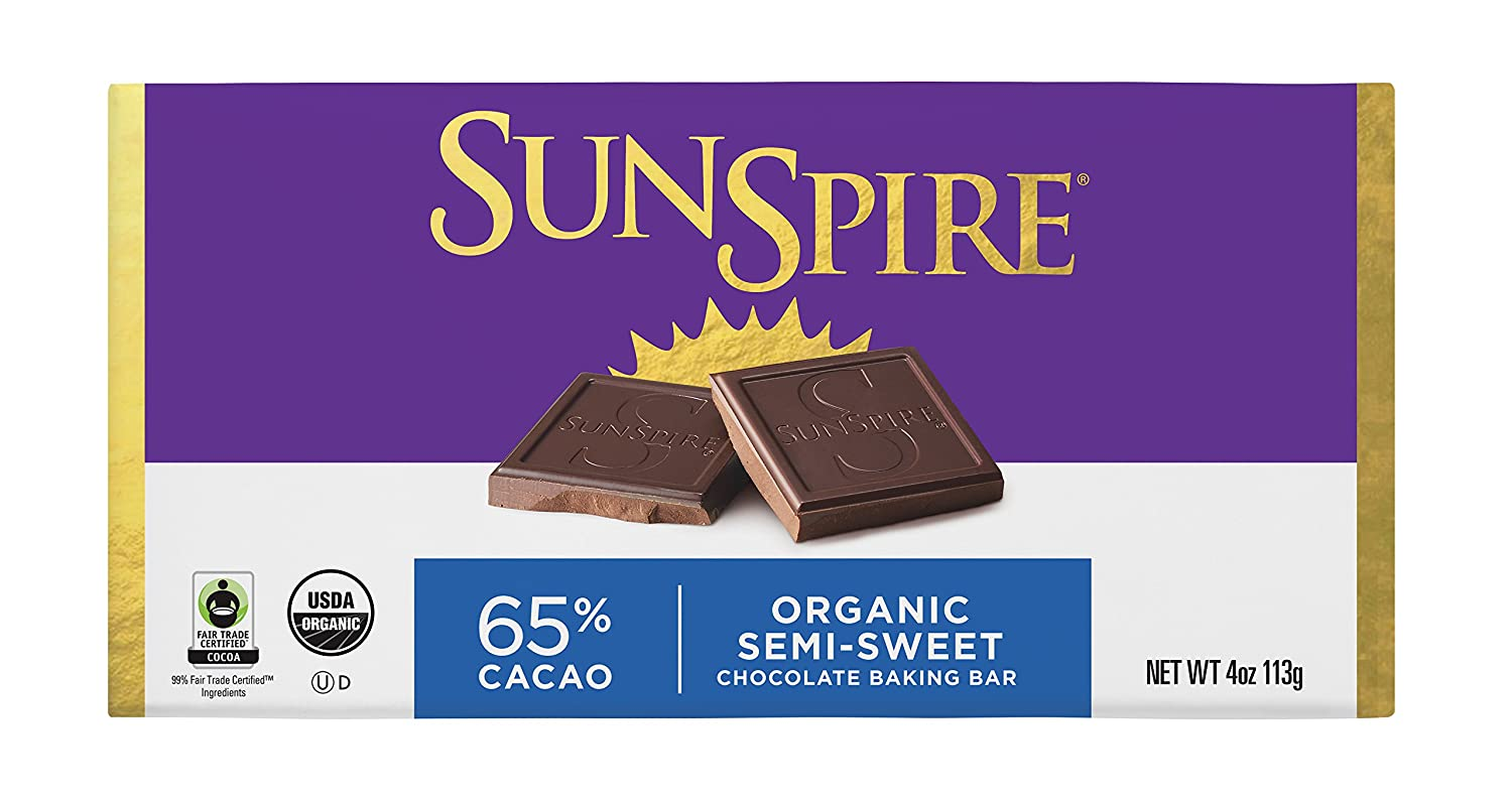 Amazon SunSpire Organic Fair Trade 99 Cacao Unsweetened Baking Bar 4 Ounce Packaged Vegetarian Meat Substitutes Grocery Gourmet Food