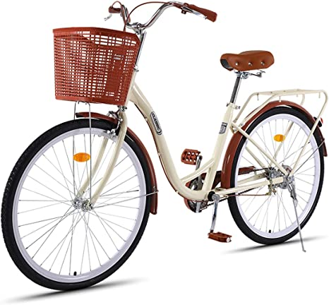 HBNW Bicicleta de carretera clásica con cesta 26 pulgadas bicicleta de carretera para mujer (7 velocidades), para montar en ciudad y desplazamiento: Amazon.es: Deportes y aire libre