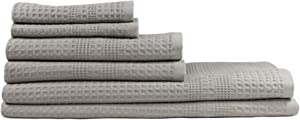 Gilden Tree Waffle Weave Bath Towel Set 100% Natural Cotton Quick Dry, Super Absorbent Classic Style (Pewter)