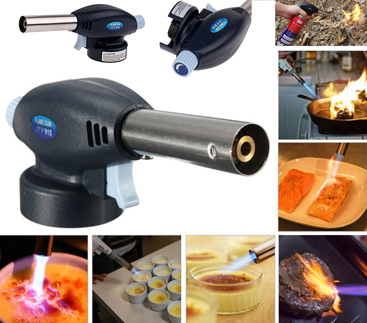 Butane Gas Powered Blowtorch Cooking Catering Creme Brulee Culinary Tarts Pies Tool HHS®