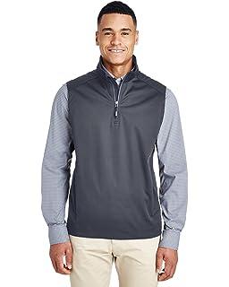 Medium Ash City Core 365 Mens Techno Lite Three-Layer Knit Tech-Shell Quarter-Zip Vest Black 703