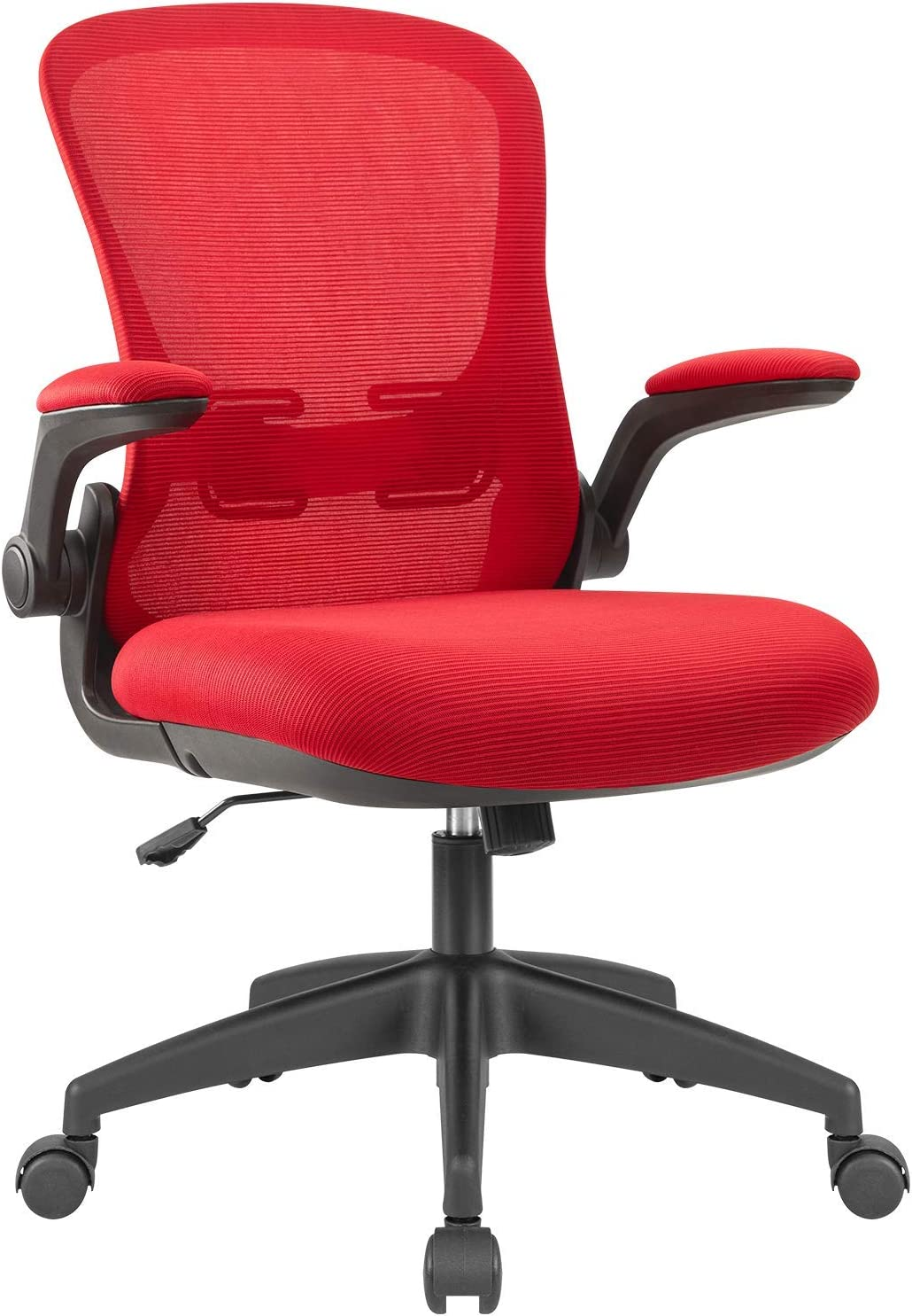 Devoko Office Desk Chair Ergonomic Mesh Chair Lumbar Support with Flip-up Arms and Adjustable Height (Red)
