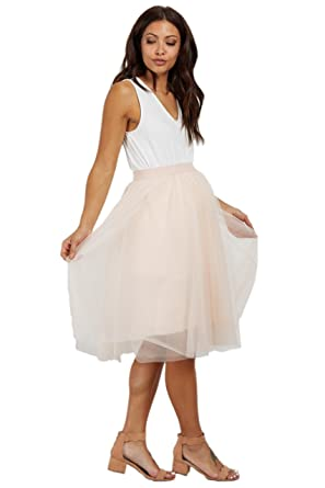 35d1a531dcdaf Image Unavailable. Image not available for. Color: PinkBlush Maternity  Peach Tulle Mesh Midi Skirt ...