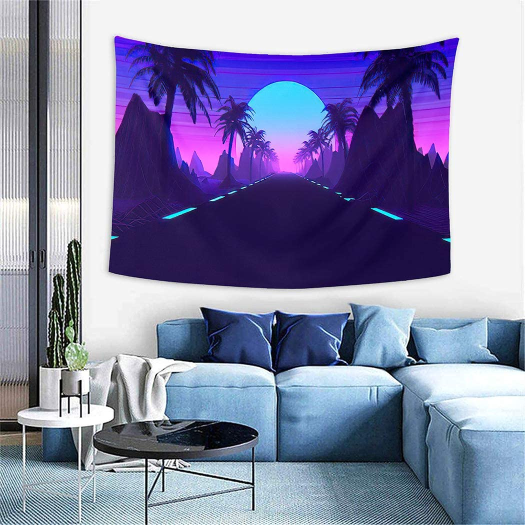 Mountain Aesthetic Tapestry,Inspired 80 S Scene Synthwave and Retrowave Music,Wall Hanging Wall D¨¦cor Blanket for Bedrooms Living Room Tablecloth Dorm Home Decor - 50