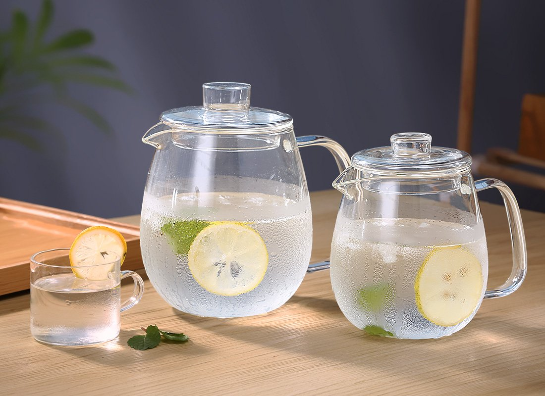 oneisall Glass Pitcher With Lid & Infuser - Borosilicate Glass Carafe 40oz/1200ml BPA-FREE Heat-resistant,Perfect For Hot&Cold Water,Tea,Juice,milk DHTGYBL581 (1200ML) by oneisall (Image #7)