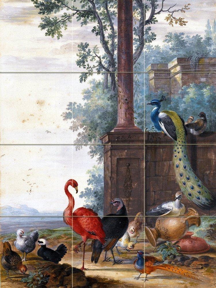 Peacock Flamingo Birds J Bronckhorst Tile Mural