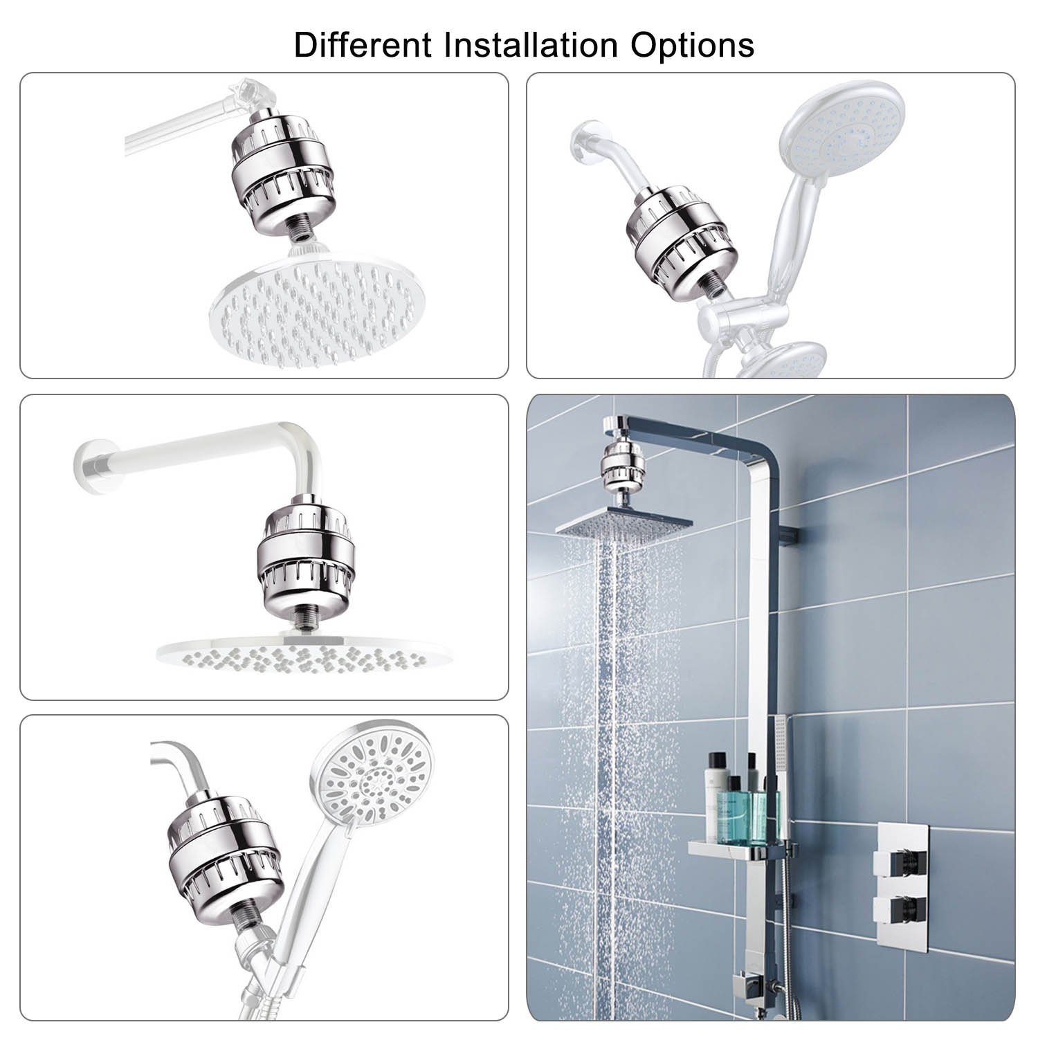 Auxoda 10-Stage Universal Shower Filter with 2 Replaceable Filter ...