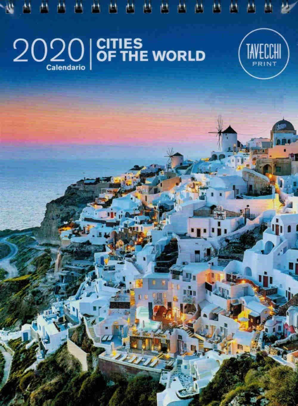 CALENDARIO DA TAVOLO CITTA DEL MONDO TAVECCHI 2020 CON SPIRALE F.TO 15X20