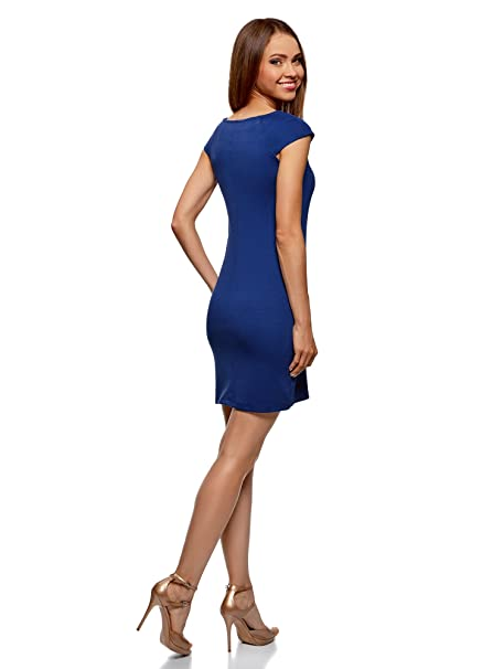 oodji Ultra Mujer Vestido Ajustado con Pedrería, Azul, ES 34 / XXS: Amazon.es: Ropa y accesorios