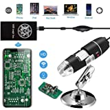 Jiusion WiFi USB Digital Handheld Microscope, 40 to 1000x Wireless Magnification Endoscope 8 LED Mini Camera with Phone Suction and Metal Stand, Compatible with iPhone iPad Mac Window Android