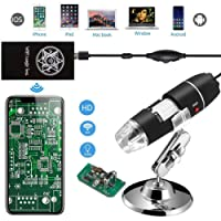 Jiusion WiFi USB Microscopio de mano digital inalámbrico, 40 A 1000 x Magnification Endoscopio 8 LED Mini Cámara con teléfono Con Ventosa Y Soporte De Metal, compatible con iPhone iPad Mac Windows Android