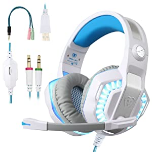 BlueFire Professional Stereo Gaming Headset for PS4, Xbox One Headphones with Mic and LED Lights for Playstation 4, Xbox One, PC (White)
