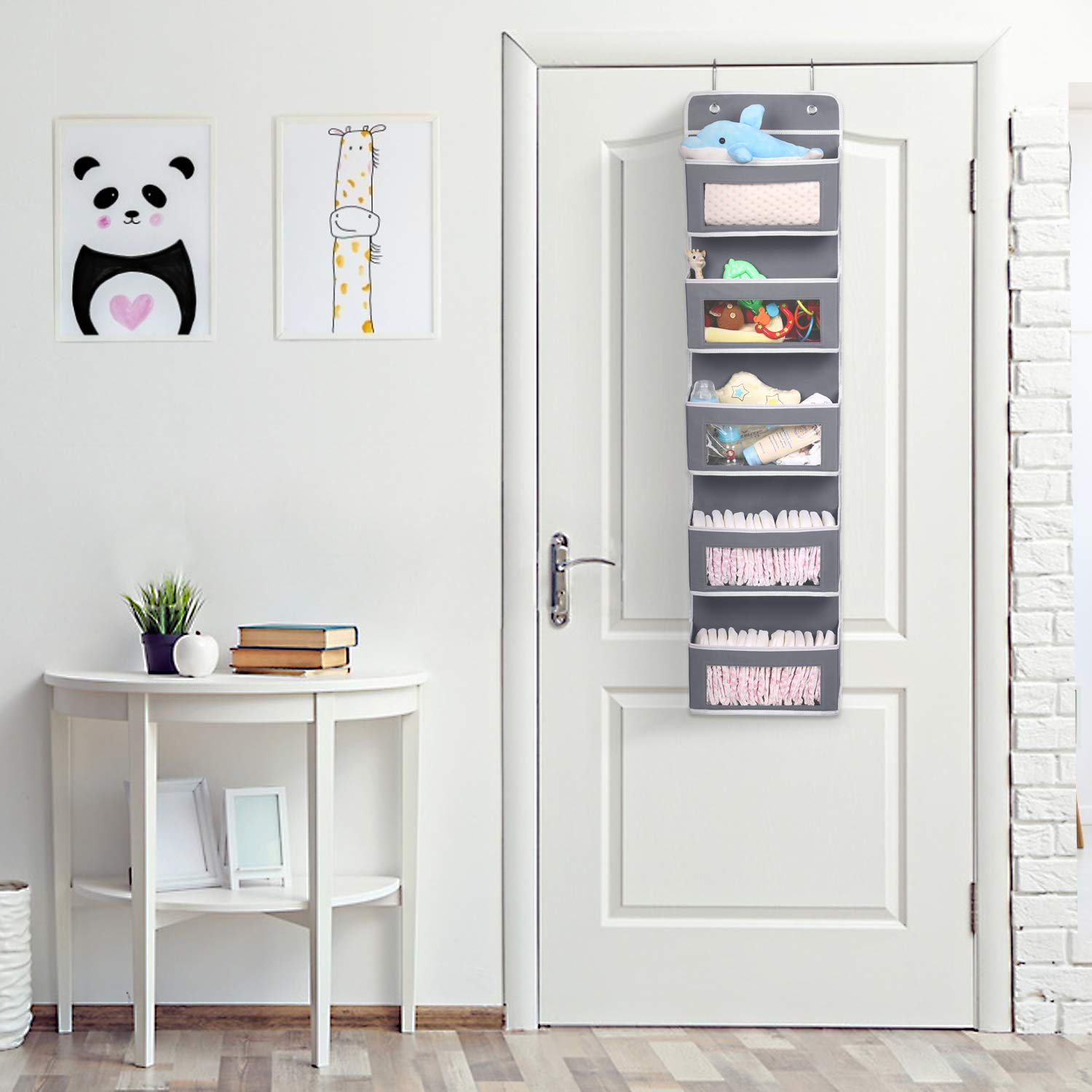 Magicfly Over The Door Organizer and Storage with 5 Large Clear Window Pocket Polka-Dot White Wall Mount Hanging Organizer for Pantry Baby Nursery Bathroom Closet Dorm