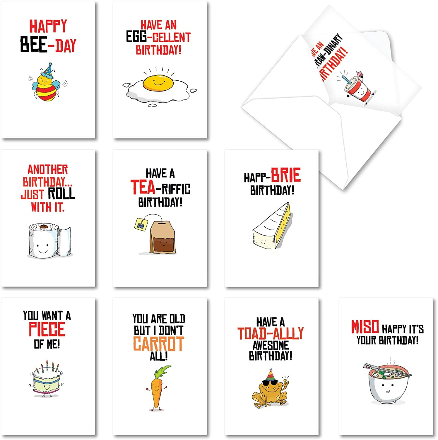 NobleWorks - 10 Assorted Happy Birthday Cards - Funny Bday Greeting Cards with Cartoons, Bulk Boxed Notecard Set - Birthday Puns AC6119BDG-B1x10