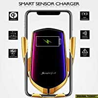 Cryzdalo Smart Sensor Wireless Car Charger | Stable Air Vent Mount | Stylish Retractable Flaps | Instant Charging (10W) + Normal Charging (5w) | Gravity Sensor | Qi Standard Enabled | 360 Degree Rotation | Compatible with iphone XS MAX/XR/XS/X, 8/8 Plus, Google Pixel, Lenovo Phones, HTC, XIAOMI, REDMI, Samsung Galaxy S8 /S7 /S6 /S7 Edge, Note 8 /5 | (GOLD)