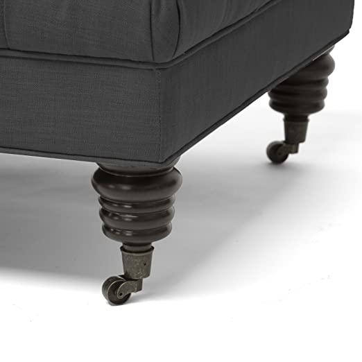 Amazon.com: Baxton Studio Bracknell Linen Modern Tufted Ottoman, Beige: Kitchen & Dining