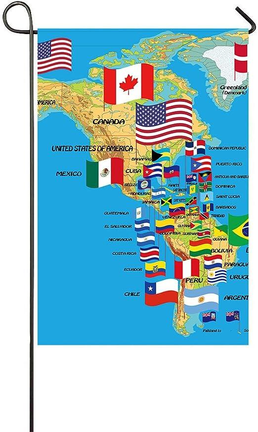 DuxiuGardenFlag12x18 Bandera Decorativa para el jardín con diseño de Mapa de América del Norte y del Sur con Banderas y países y Nombre Duradero, diseño de Camino, tamaño 30, 48 x 45,