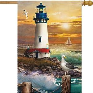 """Briarwood Lane Sunset Lighthouse Summer House Flag Nautical 28"""" x 40"""""""