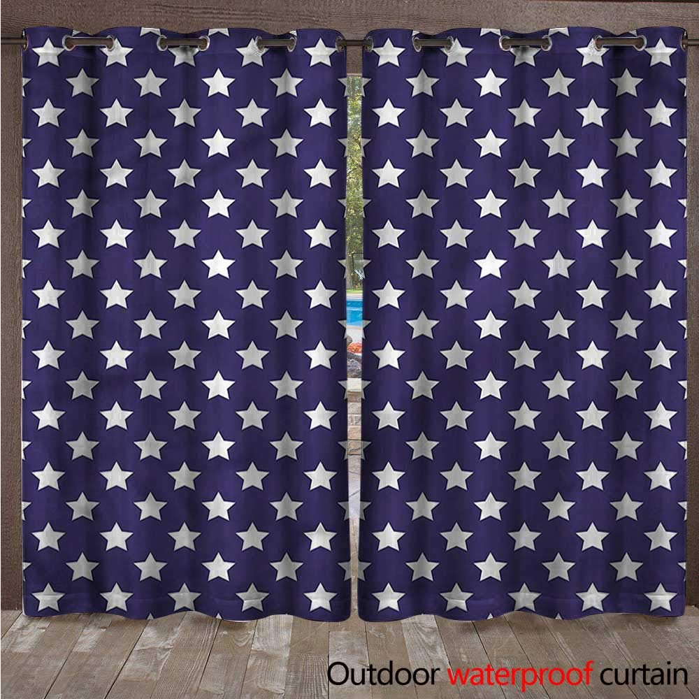 cobeDecor Navy Outdoor Balcony Privacy Curtain Flag Symbol with Stars W108 x L84(274cm x 214cm)
