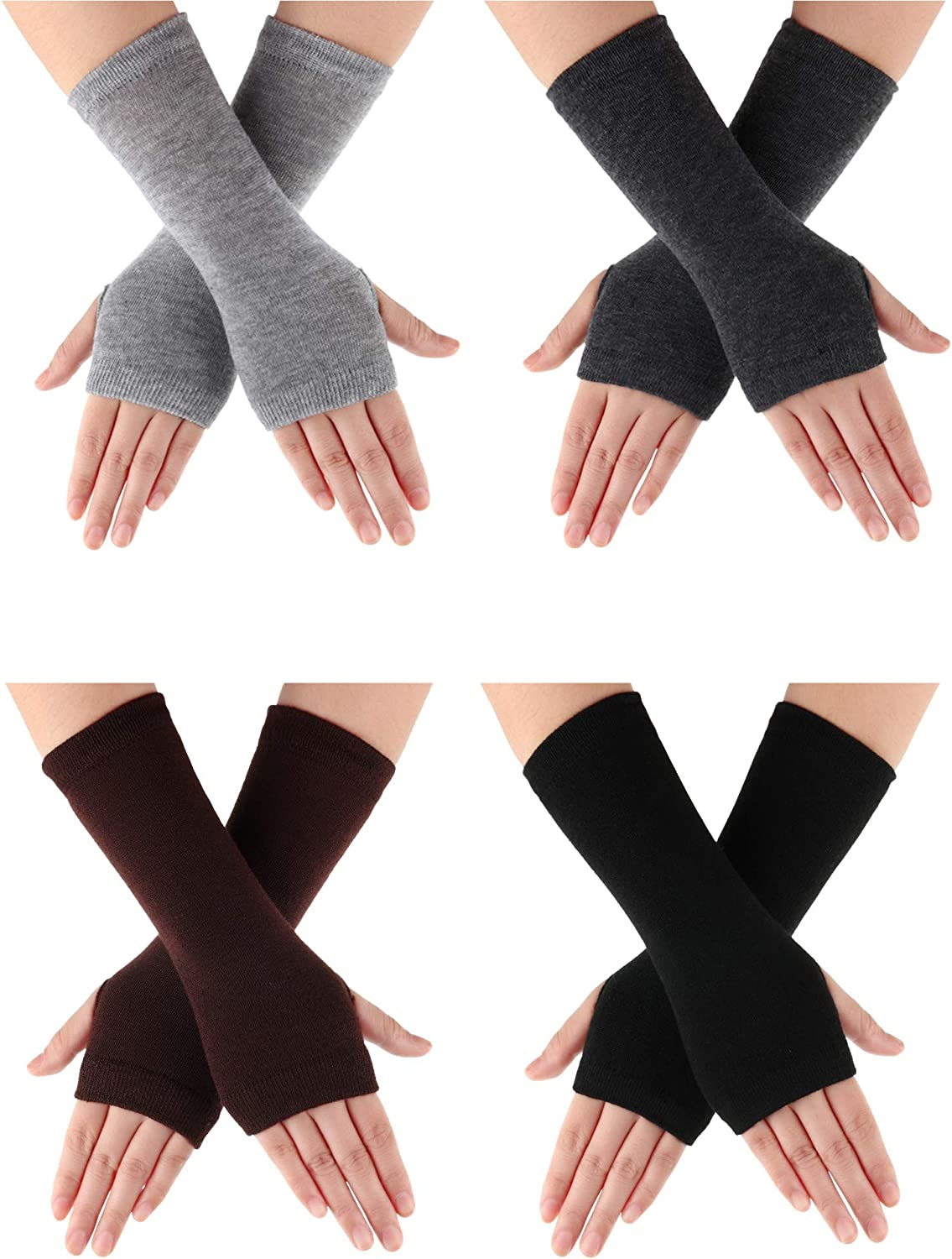 4 Pairs Wrist Fingerless Gloves with Thumb Hole Unisex Cashmere Warm Gloves (Color Set 4)