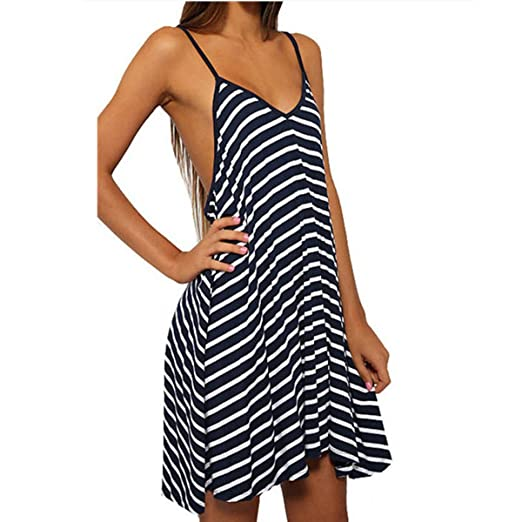 Enbeautter Women Summer V-Neck Spaghetti Strap Striped Party Dress ...