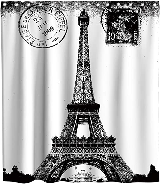 Amazon Com Romantic French Paris Eiffel Tower City Of Love Retro Theme Fabric Black And White Shower Curtain Sets Kids Bathroom Home Decoration Decor With Hooks Waterproof Washable 72 X 72 Inches Kitchen