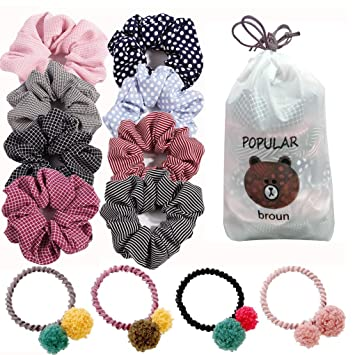 Amazon.com: Scrunchies de pelo, gasa algodón Scrunchies para ...