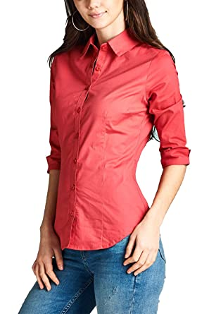 a5a530b2 Image Unavailable. Image not available for. Color: GENx Womens 3/4 Sleeves  Classic Button Down Collar Shirts ...