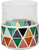 """Yankee Candle Corsica Crackle Votive Holder Coloured Mosaic & Clear Solid Glass for Samplers or Tea Lights Small 7.5cm/3"""" Modern Decorative Candle Container for Fireplaces & Tables Indoor/Outdoor"""