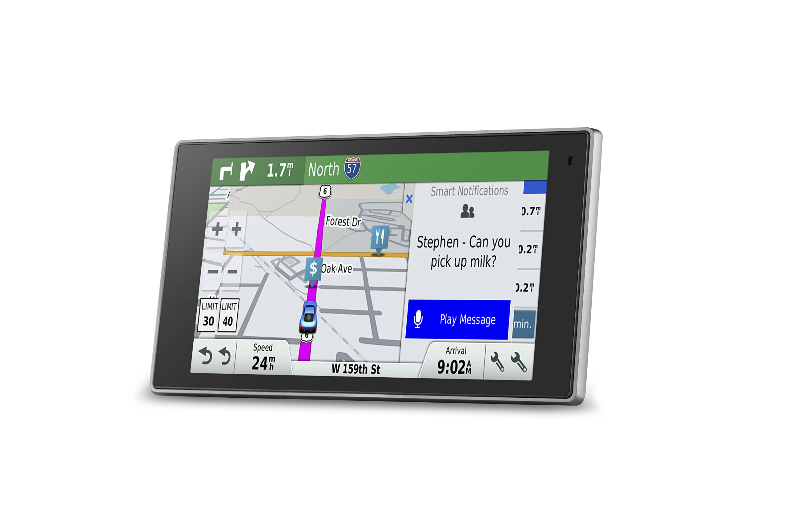 Garmin DriveLuxe 50 NA LMTHD GPS Navigator System with Lifetime Maps and Traffic, Smart Notifications, Voice Activation, Driver Alerts, and a Sleek Metal Design by Garmin