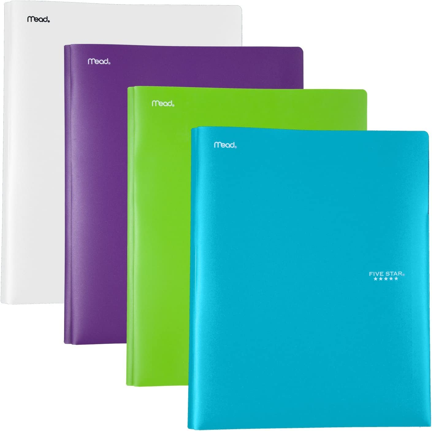 Five Star 2 Pocket Folders with Prong Fasteners, Folders with Pockets, Fits 3 Ring Binder, Plastic, Teal, White, Purple, Lime, 4 Pack (38136)