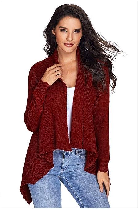 QWL-Sweater Chaleco Tipo cárdigan con Abrigo Largo de Punto Casual ... 8b8e6f5a9b69