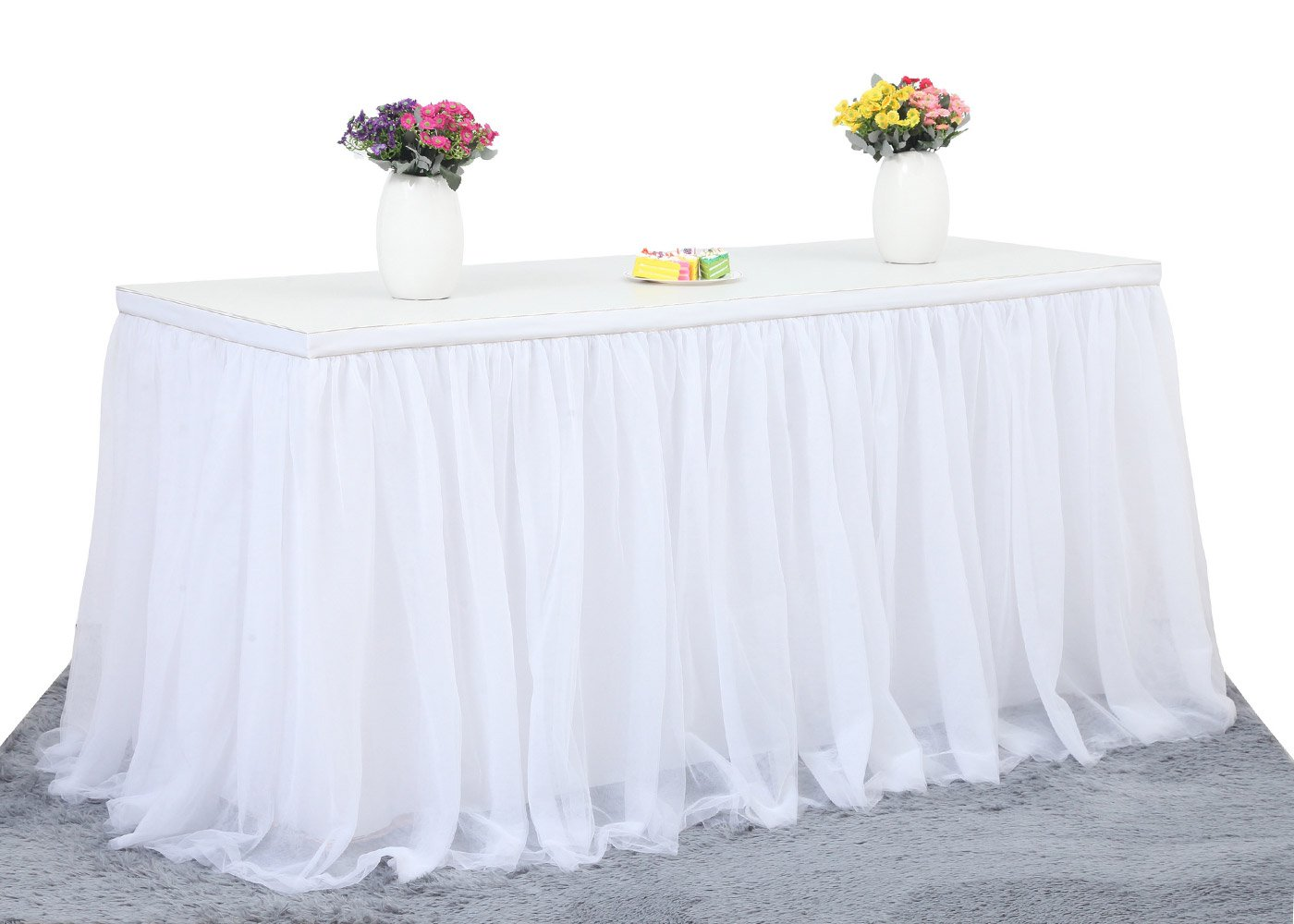 6FT White Tulle Table Skirt High-end Gold Brim 3 Layer Round or Rectangle Tables Mesh Tutu Table Skirting Fluffy and Elegant for Baby Show,Birthday Party,Wedding Decoration.(L72in, H30in)