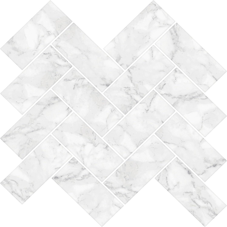In Home NH2358 Carrara Herringbone Carrera Peel & Stick Backsplash Tiles, White & Off-White