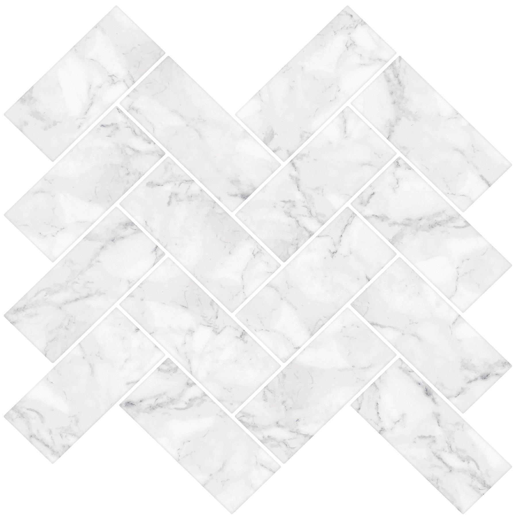 In Home NH2358 Carrara Herringbone Carrera Peel & Stick Backsplash Tiles, White & Off-White by In Home