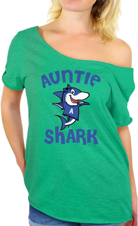 Awkward Styles Auntie Shark Off Shoulder T-Shirt Shark Family Matching Shirts