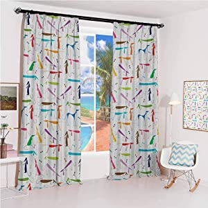 GUUVOR Dog Lover Hook up Curtain Dachshund Cartoon Doodles with Various Stances Pointing Smelling Running Standing for Bedroom Kindergarten Living Room W52 x L84 Inch Multicolor