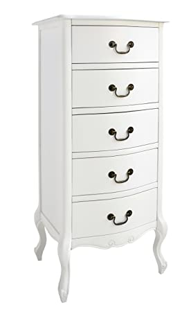 Juliette White Tallboy 5 Drawer Narrow Chest Of Drawers Fully