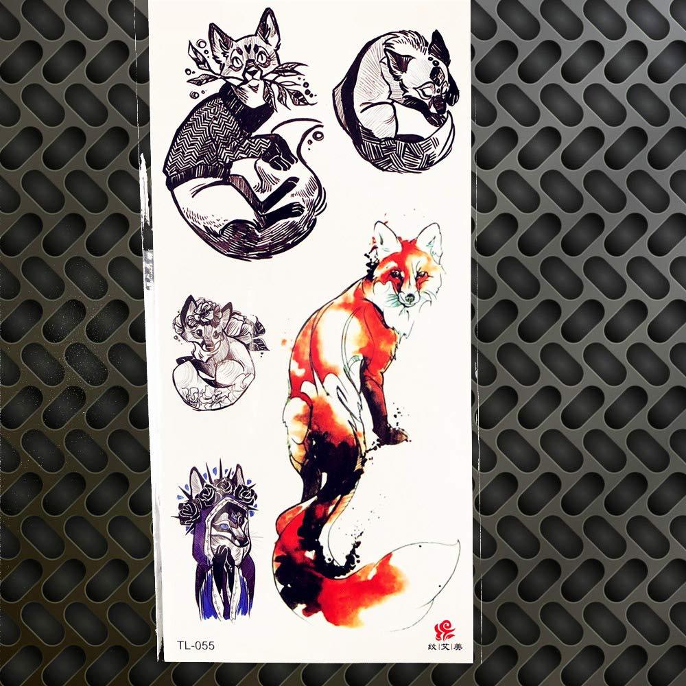 GVDTYKJF Tatuajes Temporales Tribal Acuarela Luna Lobo Mariposa ...