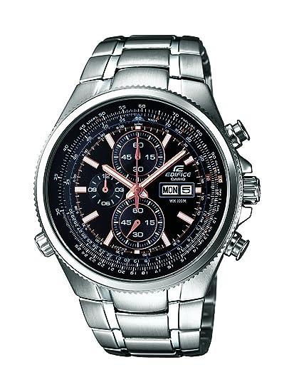 Casio EDIFICE - Reloj analógico de caballero de cuarzo con correa de acero inoxidable plateada (cronómetro) - sumergible a 100 metros: Amazon.es: Relojes