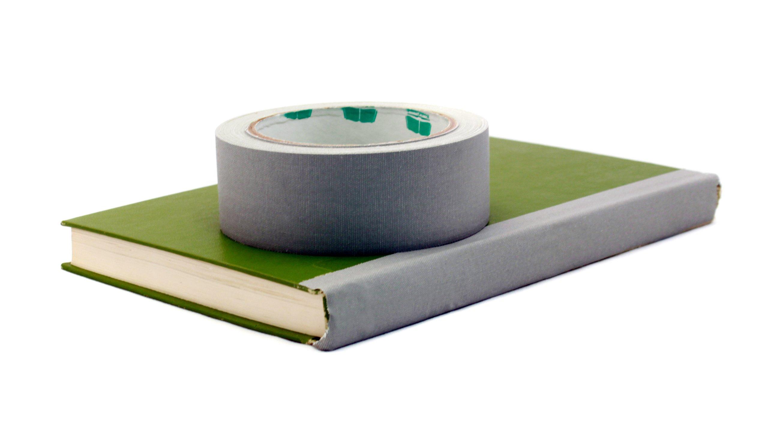 BookGuard 1-1/2 Inch  Vinyl-Coated Cotton Cloth Book Binding Repair Tape, 15 Yard Roll, White