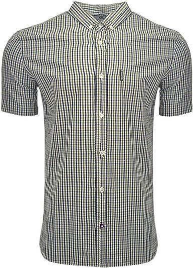 Lambretta - Camisa de Manga Corta para Hombre, diseño de Cuadros Escoceses, algodón, Talla S-3XL Azul Navy/Khaki 2X-Large: Amazon.es: Ropa y accesorios