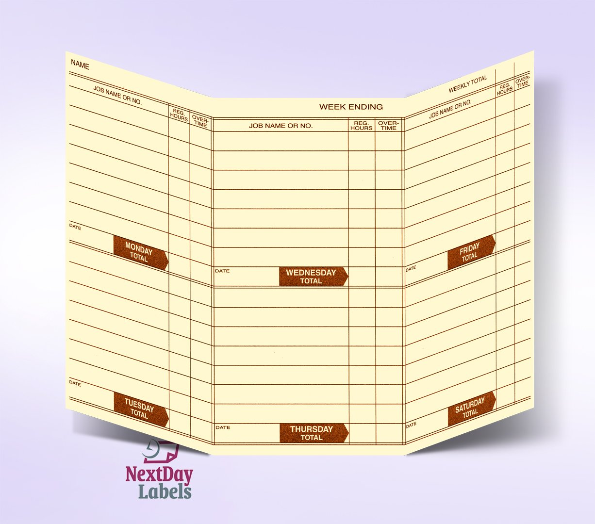Weekly Employee Pocket Size Time Cards by Next Day Labels (Image #2)