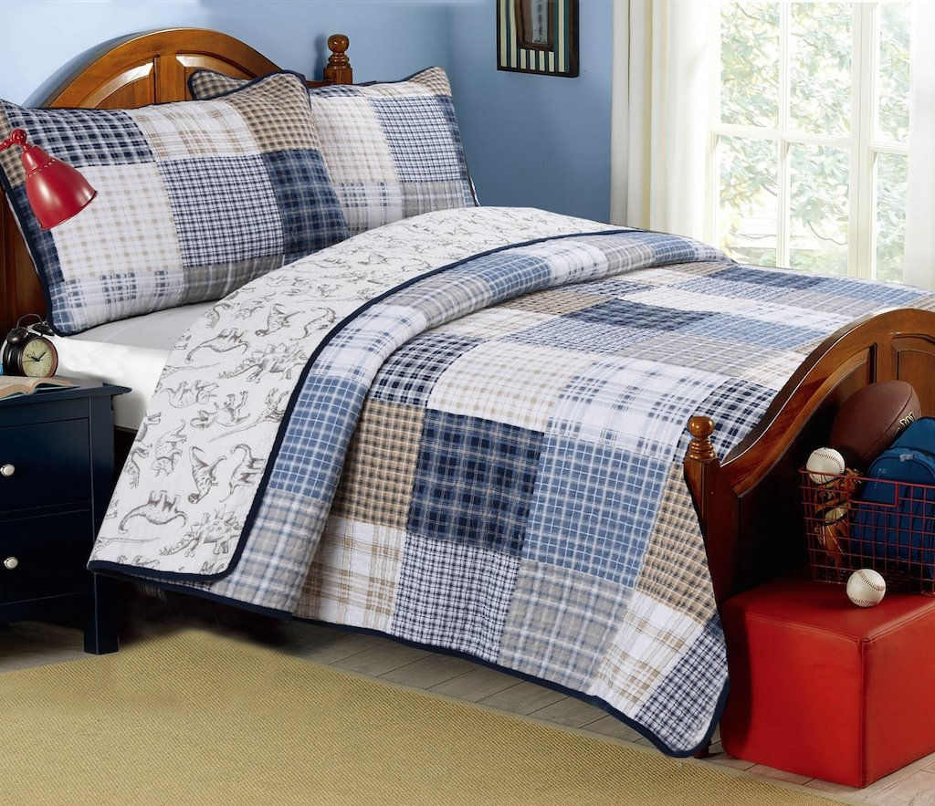 Cozy Line Home Fashions Jurassic Park Dinosaur Benjamin Plaid Print Pattern Navy Blue White Grey Bedding Quilt Set