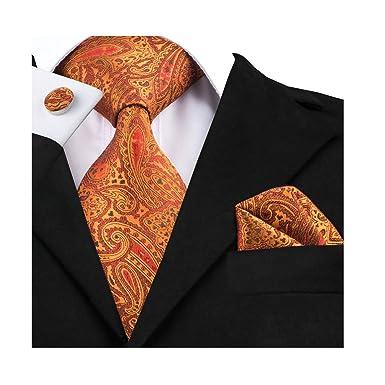 824ebcb71f69 Dubulle Mens Orange Tie and Pocket Square Set Silk Woven Necktie:  Amazon.co.uk: Clothing