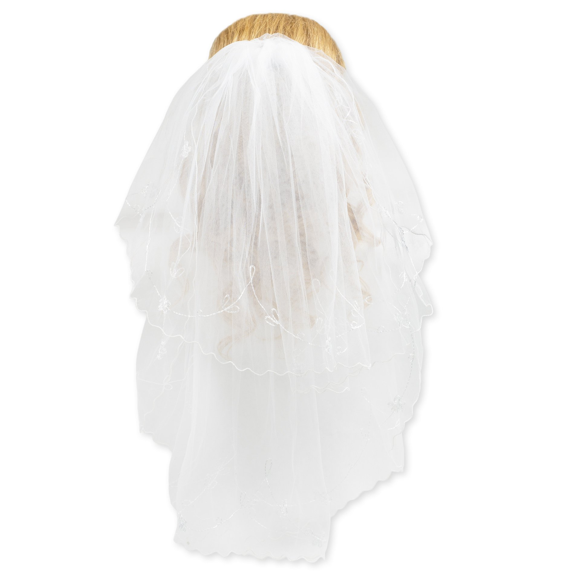 First Holy Communion White Tulle Veil with Embroidered Daisies